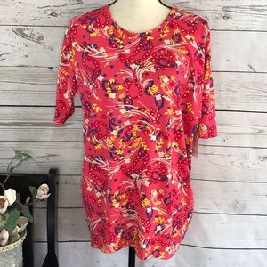 LuLaRoe Floral Irma Stretch HiLow Short Sleeve Top